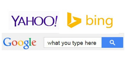 google yahoo bing search engines