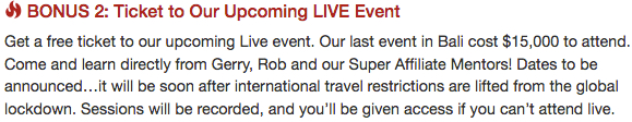 bonus 2 ticket to upcoming live event